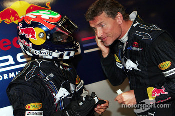 Karun Chandhok, Test Driver, Red Bull Racing and David Coulthard, Red Bull Racing