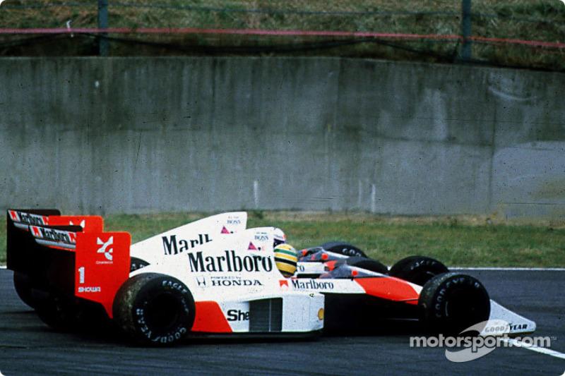 The infamous crash of Ayrton Senna and Alain Prost on lap 46