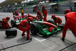 Joao Urbano, driver of A1 Team Portugal pit stop practice