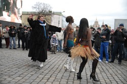 Kamaz-Master ceremonial start on the Red Square in Moscow: African dancers
