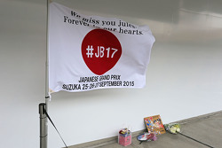 A tribute to Jules Bianchi in the pit lane
