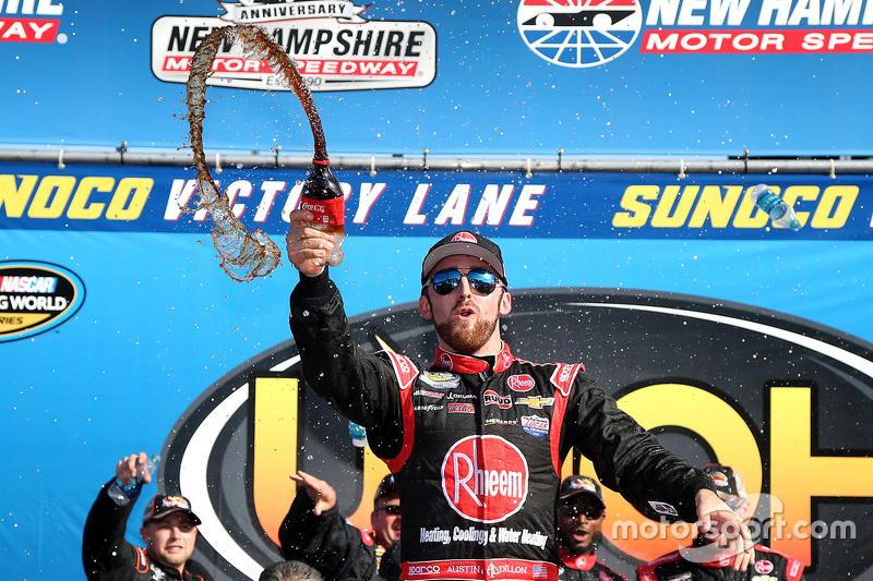 Race winner Austin Dillon celebrates at Loudon