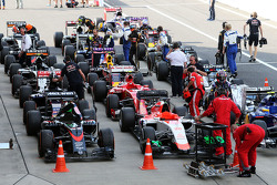 The cars in parc ferme at the end of the race