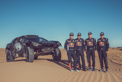 Sébastien Loeb, Daniel Elena, Carlos Sainz and Lucas Cruz with the Peugeot 2008 DKR16