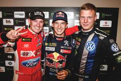 Podium: Winner Timmy Hansen, Team Peugeot Hansen, second place Andreas Bakkerud, Olsbergs MSE, third place Johan Kristoffersson, Volkswagen Team Sweden