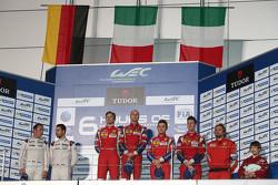 Podium LMGTE Pro: winners Gianmaria Bruni, Toni Vilander, AF Corse Ferrari, second place Frédéric Makowiecki, Patrick Pilet, Porsche Team Manthey, third place Davide Rigon, James Calado, AF Corse Ferrari