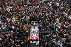 Fans watch podium festivities