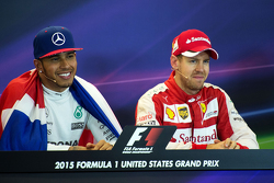 Race winner and World Champion Lewis Hamilton, Mercedes AMG F1 and third place Sebastian Vettel, Ferrari in the FIA Press Conference