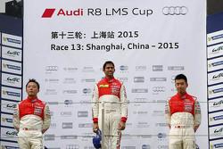 Podium: winner Aditya Patel, Team Audi R8 LMS Cup, second place Marchy Lee, Audi Hong Kong Team, third place Cheng Congfu, FAW-VW Audi Racing