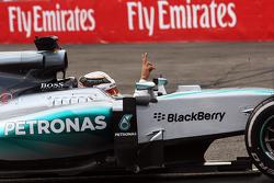 Lewis Hamilton, Mercedes AMG F1 W06 celebrates his second position in parc ferme