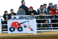 Fans with a banner for Lewis Hamilton, McLaren Mercedes