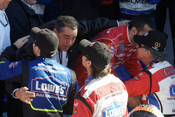 Victory lane: Jimmie Johnson, Jimmy Vasser and Bob Stallings congratulate the winners
