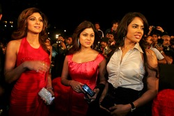 Shilpa Shetty, Indian film actress and model, with guests at the launch ceremony