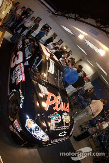 Unveiling of the commemorative car to celebrate the 10th anniversary of Dale Earnhardt's Daytona 500 win: the car