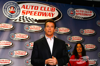 Governor Arnold Schwarzenegger attended a press conference hosted by the California Speedway as the track announced the renaming to Auto Club Speedway