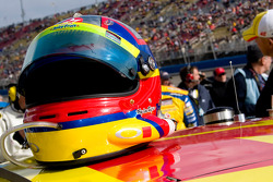 Juan Pablo Montoya's helmet sits on his car