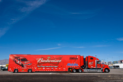 The Budweiser team hauler makes its' way into the Las Vegas Motor Speedway