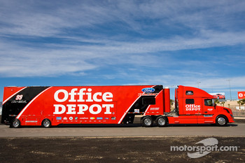 The Office Depot team hauler makes its' way into the Las Vegas Motor Speedway