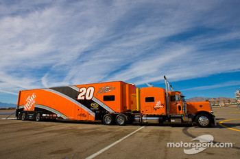 The Home Depot team hauler makes its' way into the Las Vegas Motor Speedway