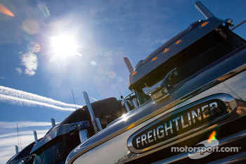 Team haulers make their way into the Las Vegas Motor Speedway