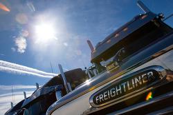 Team haulers make their way into the Las Vegas Motor Speedway