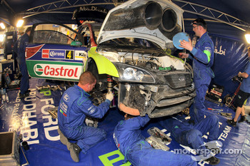 Jari-Matti Latvala's Ford Focus RS WRC receives some extensive service from the M-Sport team