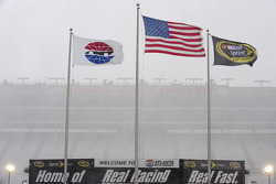 The snow is falling hard at Atlanta Motor Speedway