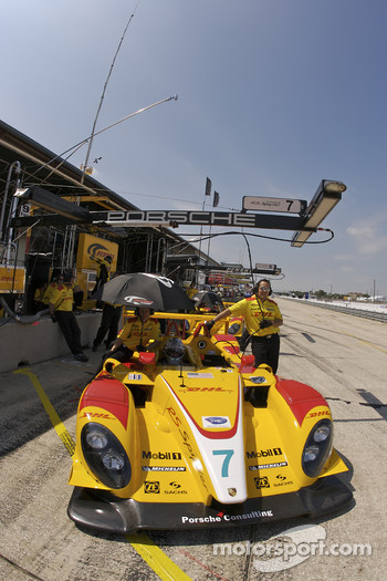 Romain Dumas sits in the Penske Racing Porsche RS Spyder