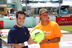 Helio Castroneves with tennis pro David Nabaldian after a match on the Homestead front straight