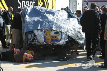 Michael McDowell's damaged car