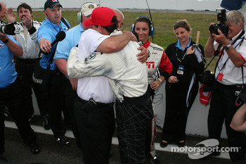 Graham Rahal gets a hug from his father, Bobby Rahal