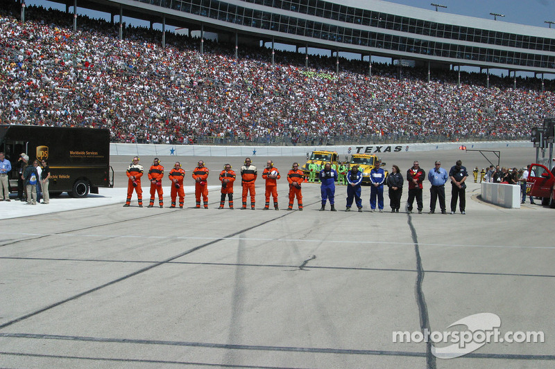 Safety crews line up for pre-race activities