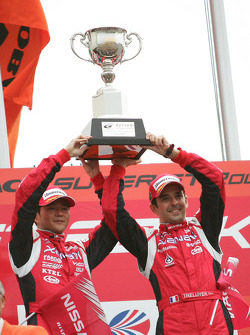 GT500 podium: class and overall winners Satoshi Motoyama and Benoit Treluyer