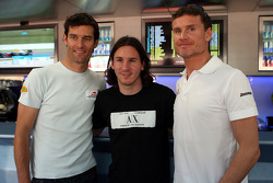Mark Webber, Red Bull Racing, Lionel Messi, FC Barcelona and Argentina International, football player and David Coulthard, Red Bull Racing