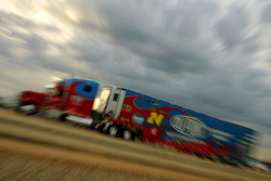 Jeff Gordon's hauler pulls into the Talladega Superspeedway