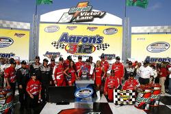 Victory lane: race winner Tony Stewart celebrates with his team