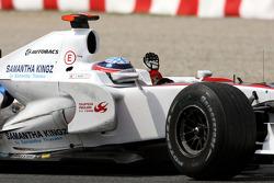 Takuma Sato Super Aguri F1 SA08A celebrates his race finish