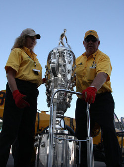 The Borg Warner trophy is brought for a photoshoot