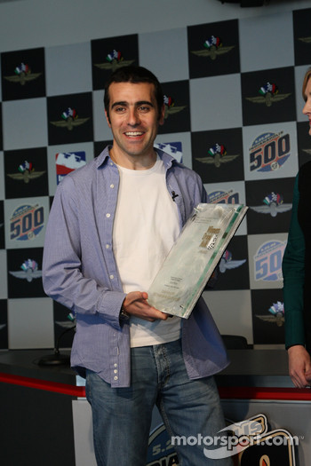 2007 Indianapolis 500 Champion Dario Franchitti accepts his awards for winning last years race