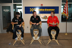 The 2008 Indianapolis 500 front row press conference with Dan Wheldon, pole winner Scott Dixon and Ryan Briscoe