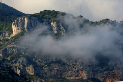 Clouds passing the cliffs in Monte-Carlo