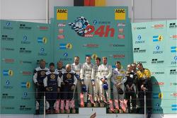Podium: race winners #1 Manthey Racing Porsche 911 GT3 RSR: Timo Bernhard, Marc Lieb, Romain Dumas, Marcel Tiemann, second place #23 Manthey Racing Porsche 911 GT3-MR: Armin Hahne, Christian Haarmann, Jochen Krumbach, Pierre Kaffer, third place #121 Porsc