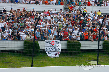 Race fans pay tribute to the former Texaco Havoline driver Davey Allison who was killed in a helicopter crash at Talladega in 1993