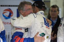 Pole winner Stéphane Sarrazin celebrates with Michel Barge