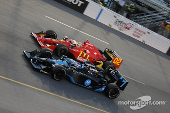 Danica Patrick attempting to pass Justin Wilson
