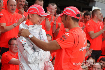 McLaren Mercedes victory celebration: Heikki Kovalainen and Lewis Hamilton