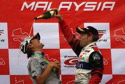 GT500 podium: Masahiko Kondo celebrate with Joao Paulo Lima De Oliveira
