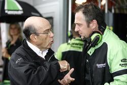 Dorna CEO Carmelo Ezpeleta in conversation with Kawasaki Competition Manager Michael Bartholemy