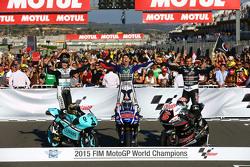 Moto3 Champion Danny Kent, Leopard Racing Honda and MotoGP Champion Jorge Lorenzo, Yamaha Factory Racing and Moto2 Champion Johann Zarco, Ajo Motorsport Kalex