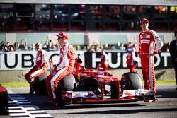 Kimi Raikkonen, Ferrari with Sebastian Vettel, Ferrari and and Esteban Gutierrez, Ferrari Test and Reserve Driver